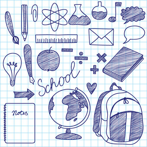 hand drawing blue school elements vector