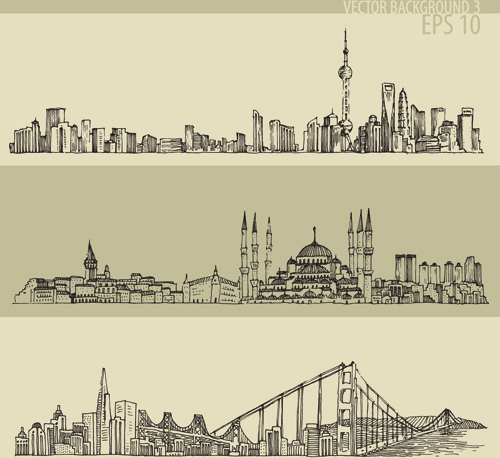 hand drawing city retro background vector free vector in