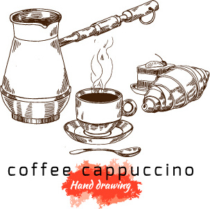 hand drawing coffee cappuccino vector