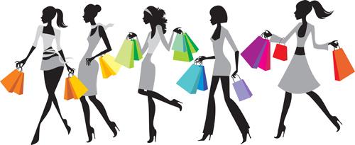 hand drawing stylish shopping elements vector set