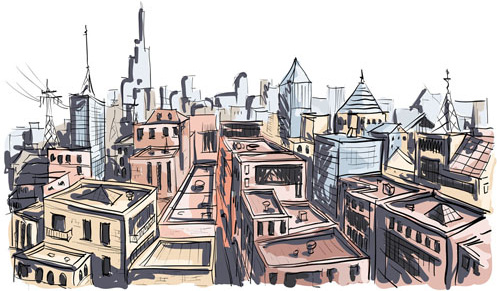 hand drawing town creative vector