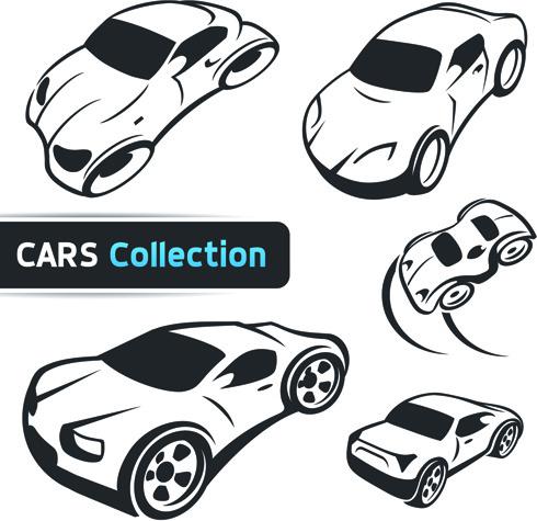 hand drawn abstract car set vector