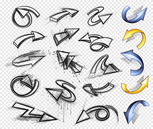 hand drawn arrows abstract vector