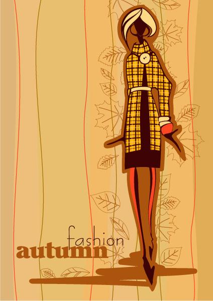hand drawn autumn fashion girl design vector