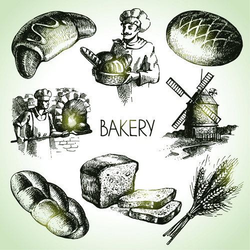 hand drawn bakery elements icons vector