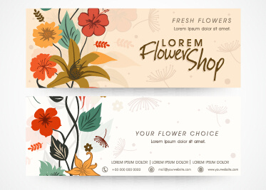 hand drawn banners flower vectors