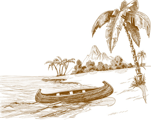 hand drawn beach black with white vector