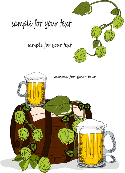 hand drawn beer background vector