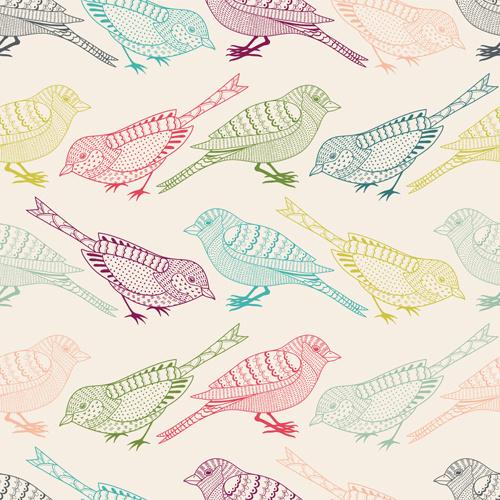 hand drawn birds seamless pattern vector