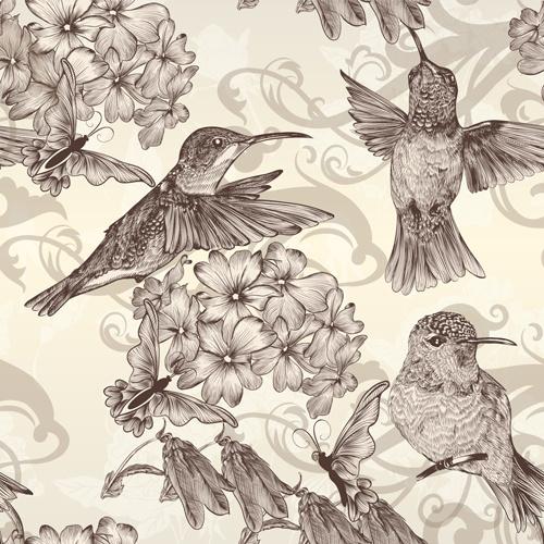 hand drawn birds vintage style vector