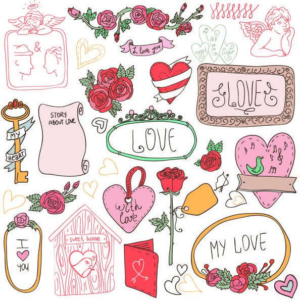 hand drawn cartoon love elements vector