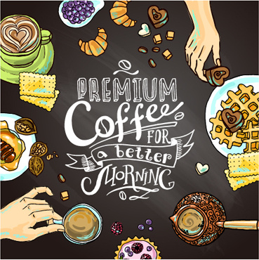 hand drawn coffee elements background art