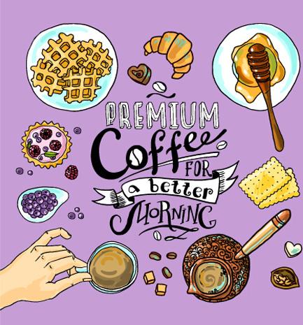 hand drawn coffee elements background art