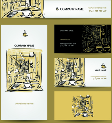 Hand drawn coffee house business card vector free vector in hand drawn coffee house business card vector reheart Gallery
