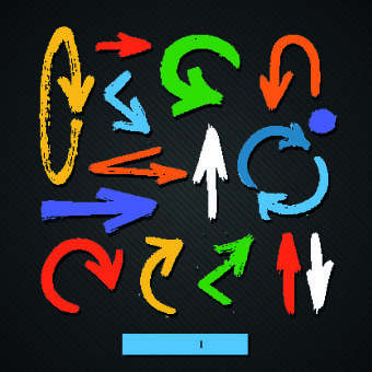 hand drawn colored arrows vector