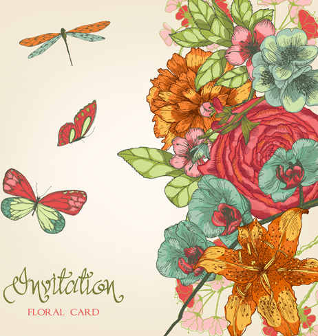 hand drawn colored floral invitation cards vector