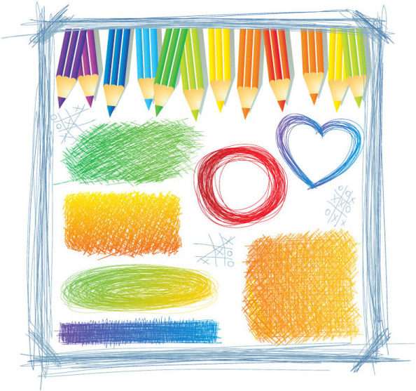hand drawn colorful pencil pattern vector