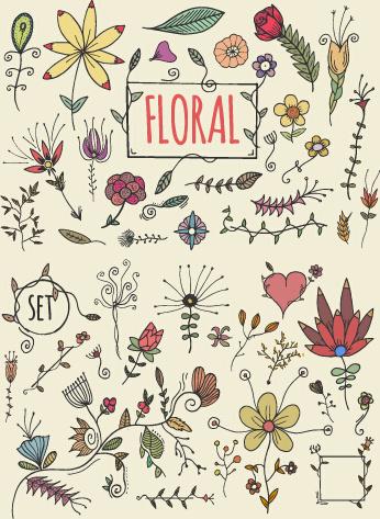 hand drawn cute florals vector