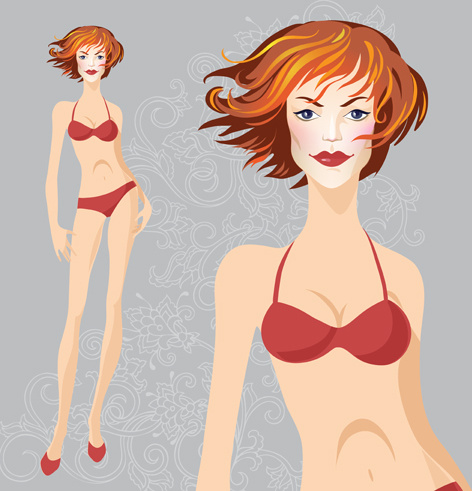 hand drawn fashion model vector