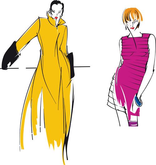 hand drawn fashion woman elements vector