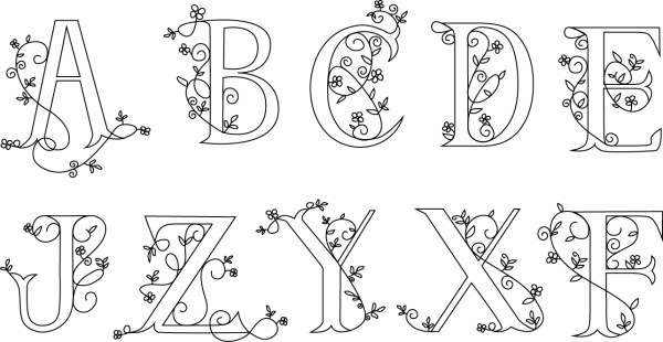 hand drawn floral alphabet vector