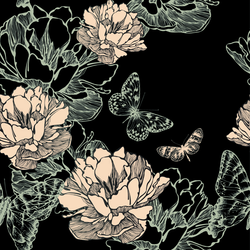 hand drawn floral art background