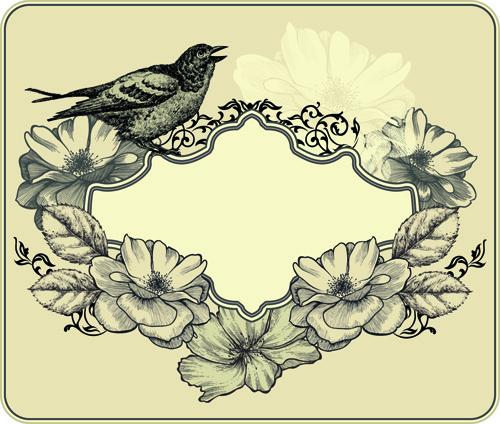 hand drawn floral art background