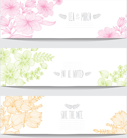 hand drawn floral banners vectors