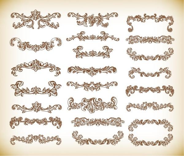 hand drawn floral decorative elements vector graphics set