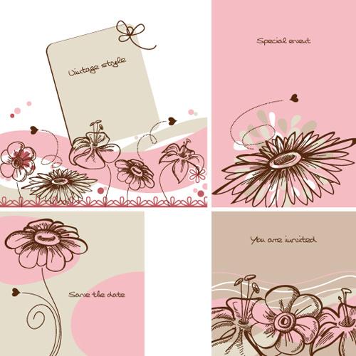 hand drawn flower of stylish card vector