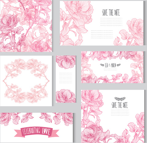 hand drawn flower pink card with banner vector