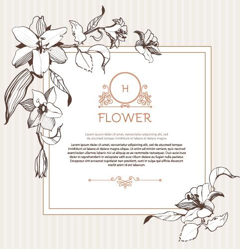 hand drawn flower vintage frame vector