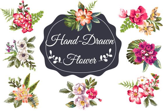 hand drawn flower vintage vector