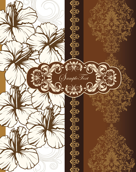 hand drawn flower with floral vector cards