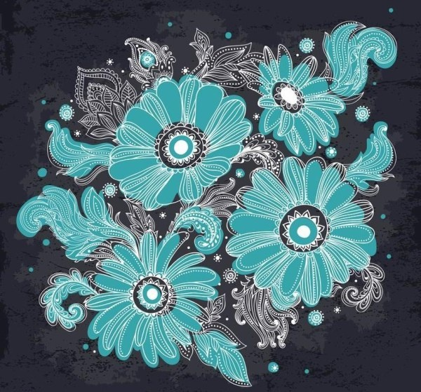 hand drawn flowers blue vector graphics