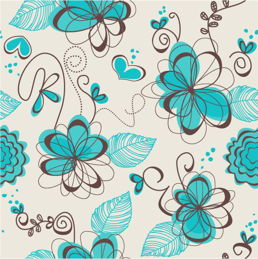 hand drawn flowers vector seamless pattern