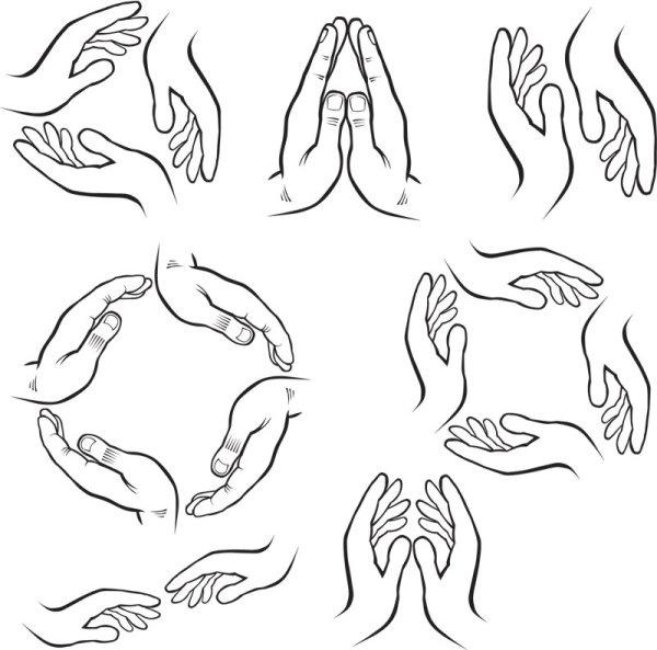 hand drawn gesture design elements vector