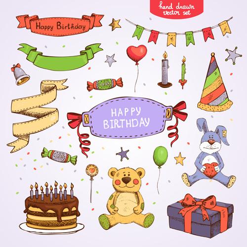 hand drawn happy birthday elements vector