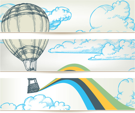 hand drawn hot air balloon in the sky banner vector