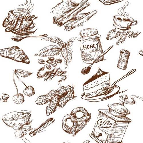 hand drawn illustrations food elements vector