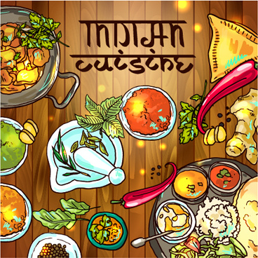 Hand Drawn Indian Food Elements Vector Free Vector In Encapsulated