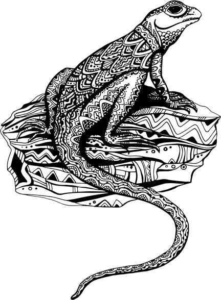 hand drawn lizard floral vector