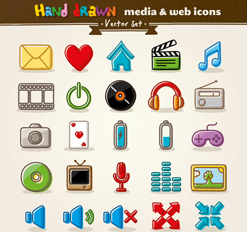 hand drawn media and web vector icons