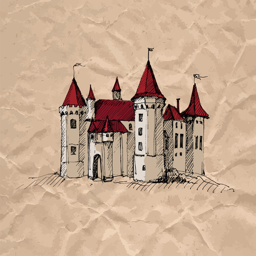 Hand drawn medieval buildings and crumpled paper vector Free