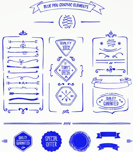 hand drawn menu blue design elements