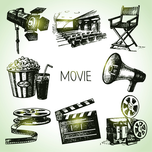 hand drawn movie elements vector icons
