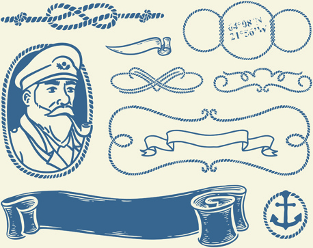 hand drawn nautical elements vector