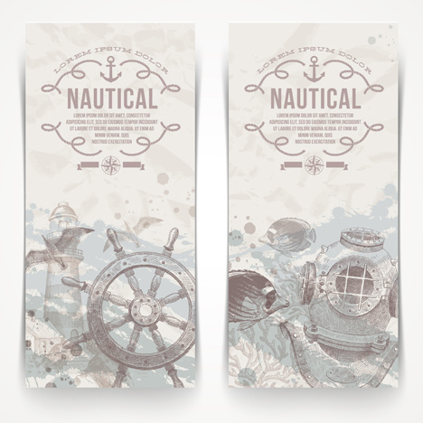 hand drawn nautical objects vector