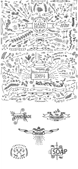 hand drawn ornaments with labels vector