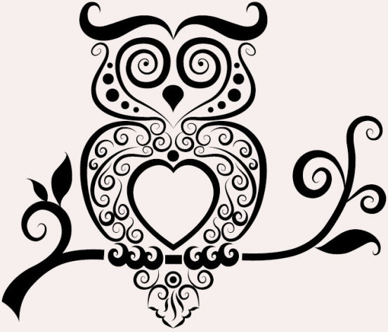 hand drawn owl decoration pattern vector